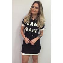 Vestido Estilo Maxi Camiseta Estampada Bicolor Team Drake