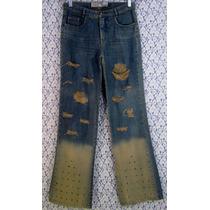 Calça Jeans 40 42 Boca Sino Destroyed Desfiada Cintura Alta