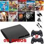 Playstation 3 Com 9 Jogos E 2 Controles De Brinde