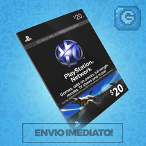 Playstation Network Card Cartão Psn $20 - Ps3 / Ps4 Imediato