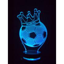 Luminária 3d, Abajur De Tomada, Bola Com Coroa Personalizada