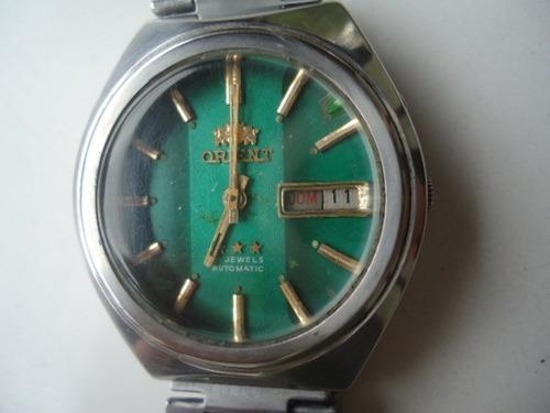 9a58470fcbd Relógio Orient Automático Antigo Perfeito Verde Lindo