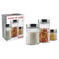 Conjunto Potes De Vidro C/tampa Em Inox 3 Peças - Euro 80129