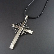 Colar Masculino Em Couro Pingente Cruz Crucifixo