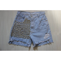 Short Jeans Customizado Destroyed Spikes