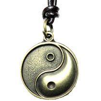 Cordão Colar Masculino De Couro Yin Yang