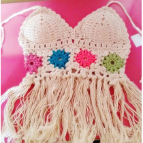 Top Blusa, Regata, Cropped Croche-trico Com Bojo Franja