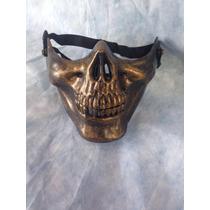 Mascara Meia Face Caveira Bronze Motociclista Air Soft