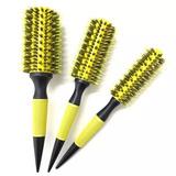Kit 3 Escovas Amarelas Profissionais Cabelo Cerdas De Javali