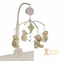 Móbile Musical Giratório Berço Bebê Ursinho Verde Menino