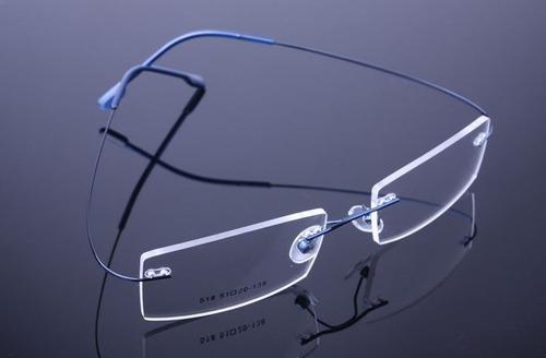 c116a132c6e31 Armação Discreta Azul Invisível Óculos Grau Titanium - A574