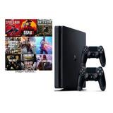 Ps4 Playstation 4 1 Tb + 2 Controles + 4 Jogos   Promoção