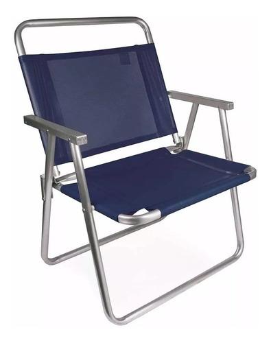 Cadeira De Praia Reforçada Suporta Até 140kg Alumínio Mor