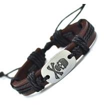 Pulseira Bracelete Masculina Feminina Couro Caveira Skull