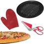 Kit Pizza Forma Teflon + Luva Silicone + Tesoura Vermelha