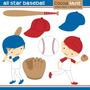 Kit Digital Meninos Baseball Esporte Imagens Clipart