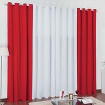 Cortina Lisboa 2,0mx1,7m Vermelho Branco Para Varão Simples