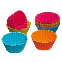 Kit 24 Forma Forminha Silicone Redonda Cupcake Muffins
