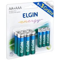 Conjunto 6 Pilhas Alcalina Aa +3 Pilhas Aaa Elgin