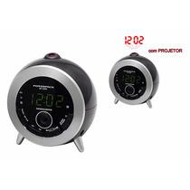 Rádio Relógio Com Projetor De Hora Visor Lcd Despertador