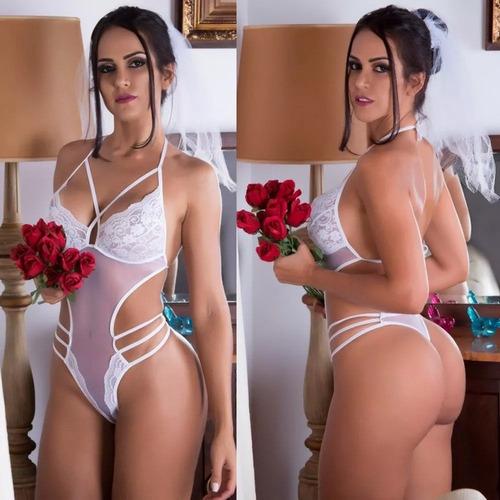 f507eba96f307 Lingerie Para Noiva Lua De Mel Body Docinho Branco Casamento. R  60