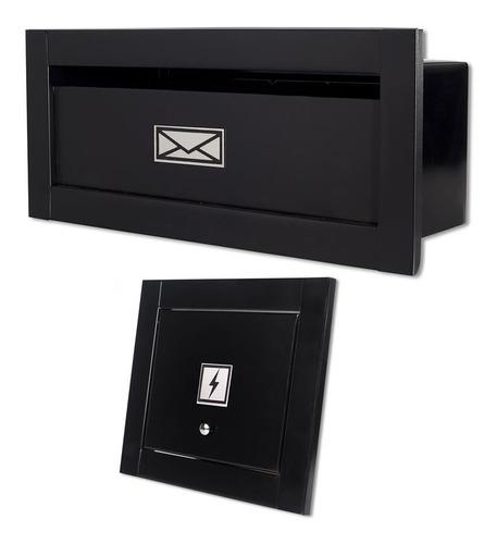 Caixa Correio Carta Linear Preta + Visor Água Ou Luz