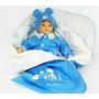 Saída De Maternidade Menino Luxo Macacão Azul Com Porta Bebê