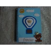 Caderno Assinaturas Ursinho C/ Balão E Nuvens Maternidad/chá