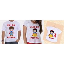 Camisetas Pai, Mãe E Filha Aniversários Branca De Neve