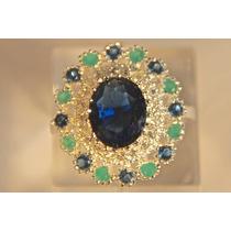 Rsp J2759 Anel A Ouro Azul Safira Esmeralda Sedex Grátis