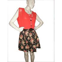 Vestido Curto Fashion Feminino - Acompanha Lindo Colar