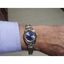 Rolex Oyster Perpetual Date Aço E Ouro, Visor Azul Revisado!