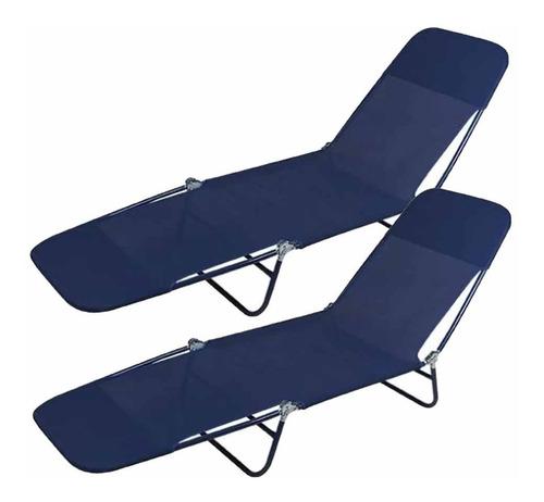 Cadeira Espreguiçadeira Praia Piscina Textilene 2 Unidades