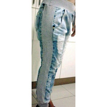 Calça Jeans Com Moleton