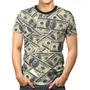 Camiseta Camisa Roupa 3d Full Notas Dólar Dinheiro Unissex
