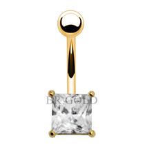 Piercing De Umbigo Dourado De Aço Cirúrgico Pedra Quadrada