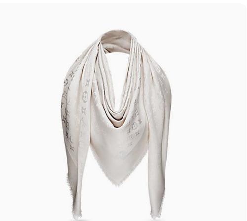 Pashimina Echarpe Lenço Xale Louis Vuitton Branca 7c79db08d78