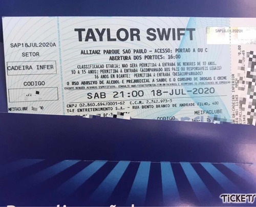 Taylor Swift Lover Tour Cadeira Inferior 18/07/20