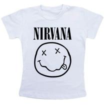 Baby Look Feminina Nirvana Camiseta Camisa Rock Grunge Banda
