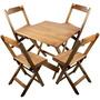 Conjunto Mesa E Cadeira Dobrável De Madeira 70x70cm Mel - A