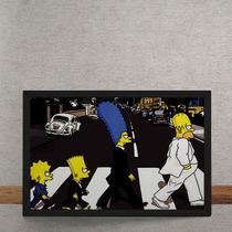 Quadro Decorativo Beatles Simpons Abbey Road 70x50