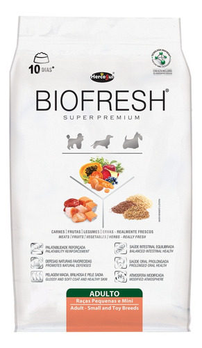 Ração Biofresh Super Premium Cachorro Adulto Raça Mini/pequena Carne/frutas/vegetais 7.5kg