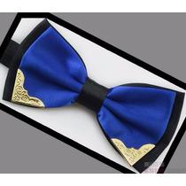Gravata Borboleta Masculina Com Detalhe Dourado Cor Azul