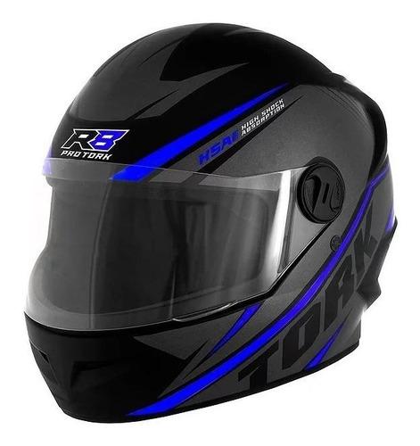 Capacete Para Moto Integral Pro Tork R8 Preto/azul Tamanho 60