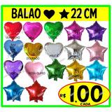 Balão Metalizado Estrela Coração Redondo 22cm