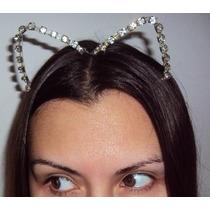 Fantasia Mulher Gato Tiara Prata Com Strass Luxo Halloween