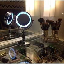 Espelho De Mesa Luz De Led Top Cromado Pronta-entrega!