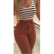 Calça Jeans Cintura Alta Hot Pants Juju Panicat Caramelo