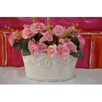 Lindo Vaso Branco C/ Flores Artificiais - Pronto P/ Enfeitar