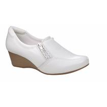 Sapato Branco Feminino De Couro Anabela Enfermagem Neftali